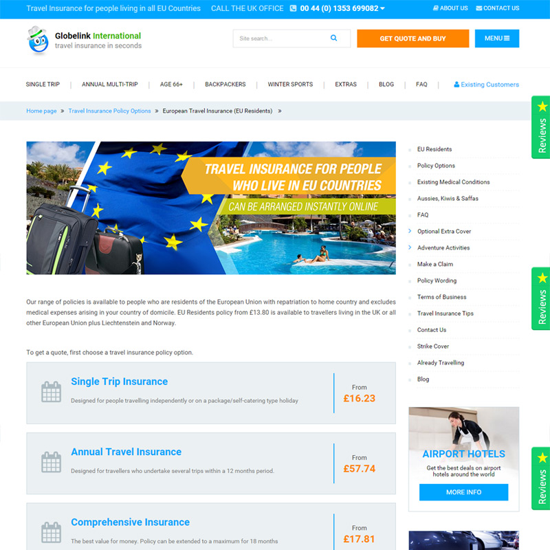 Travel Insurance Quotes Usa: Travel Insurance For Europeans / EU Residents