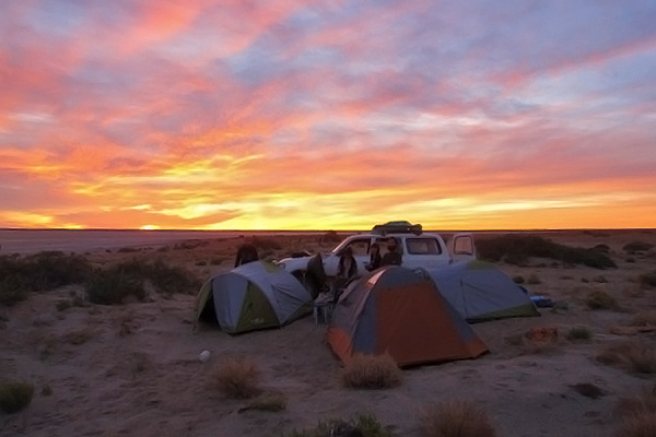 Camping alongside Lake Eyre